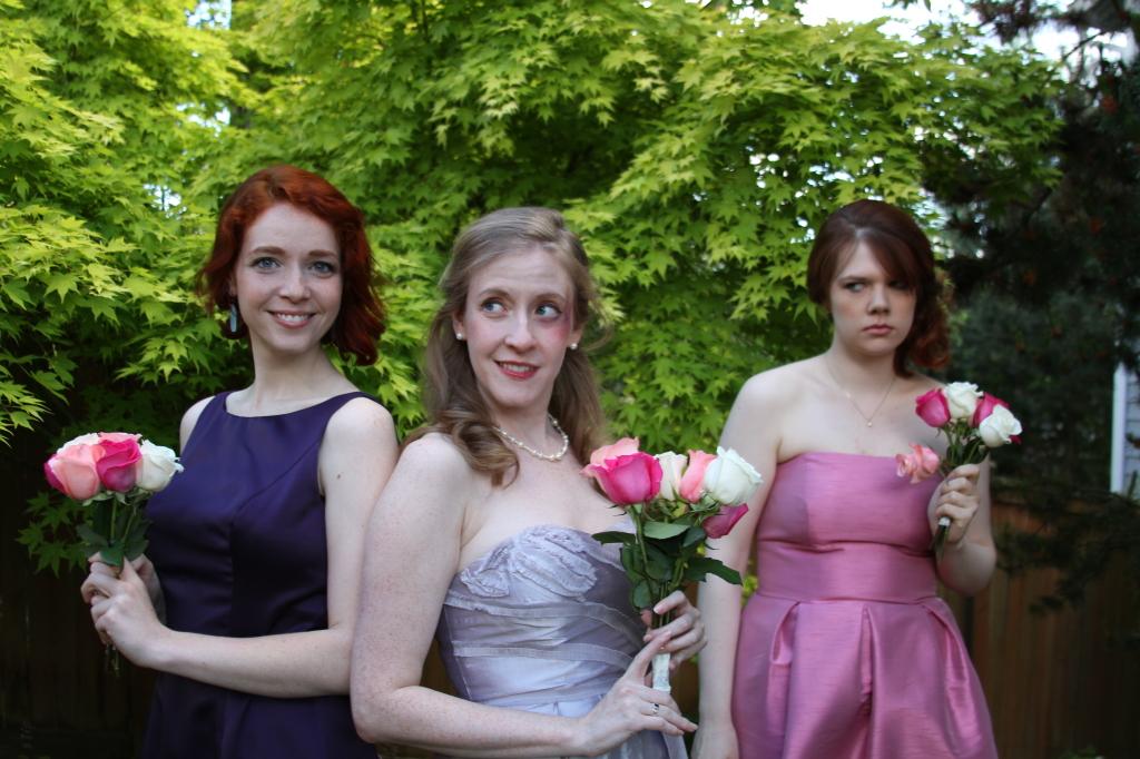 "(L to R): Lauren Bond, Cheryl Platz and Christine Riippi in ""Wedding Horror Stories"" by Seattle Experimental Theater (2013)"