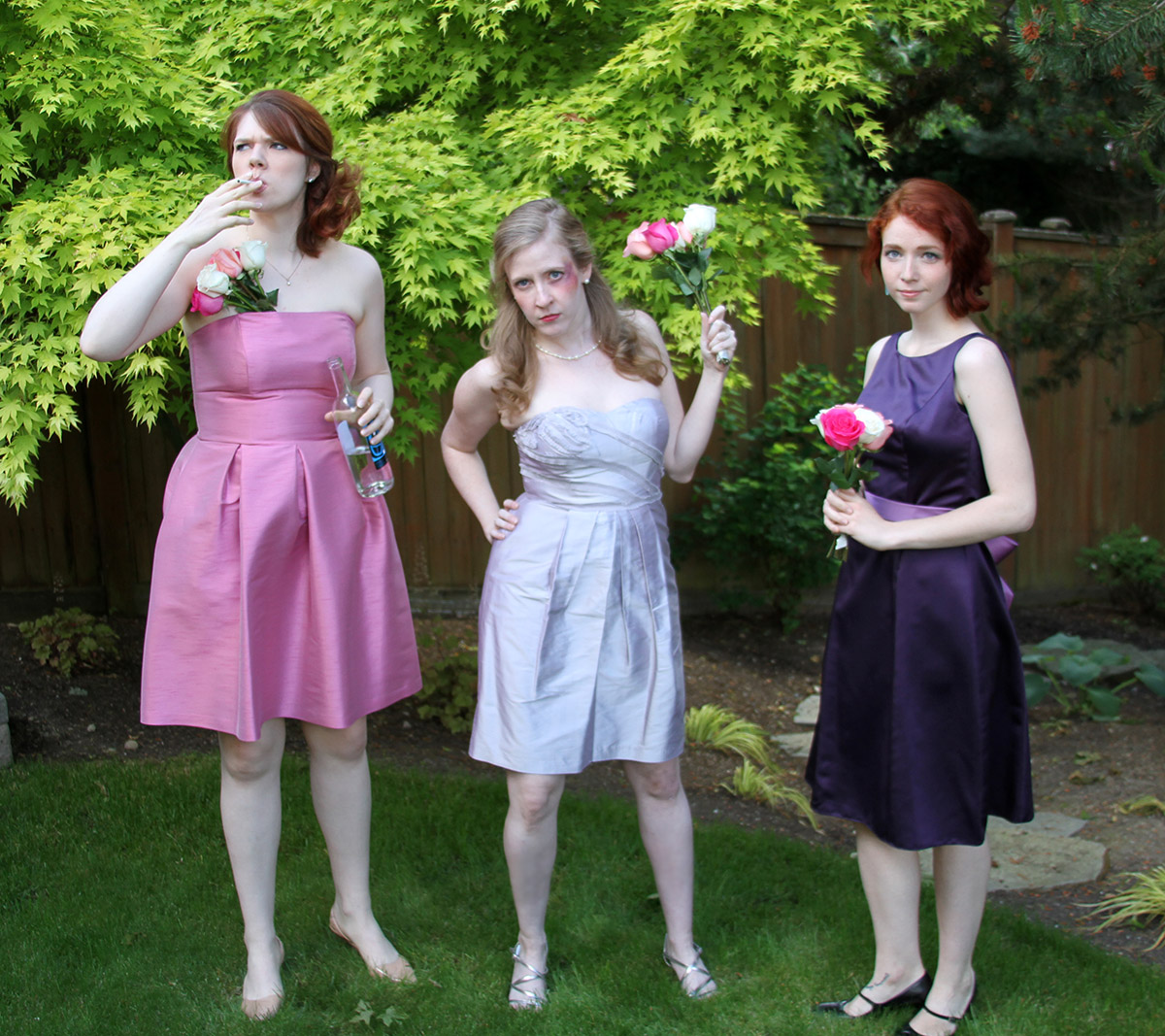 """Wedding Horror Stories"" press photo. Featuring (L to R) Christine Riippi, Cheryl Platz, Lauren Bond"