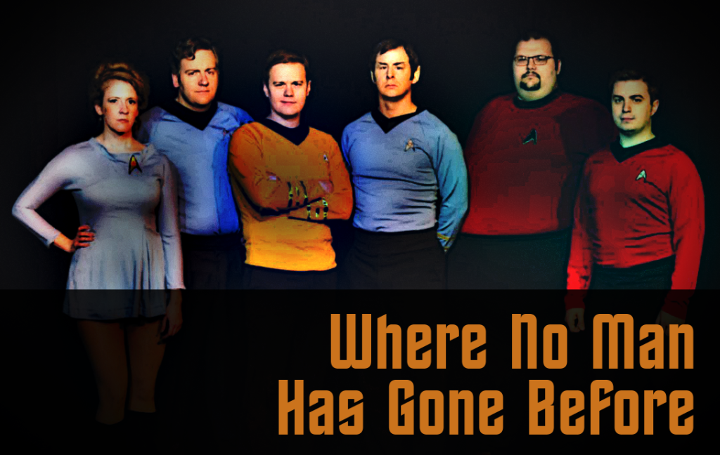 "The cast of ""Where No Man Has Gone Before"" (2014). L to R: Cheryl Platz, Tony Beeman, Nicholas Schell, Doug Willott,  Wayne Pishue, and Colin Madison."