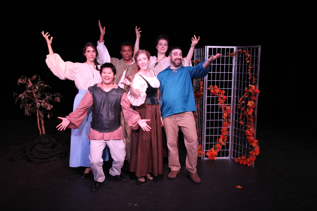"The cast of Seattle Experimental Theater's ""The Wolf and the Witch"". (L to R): Sarah Scheller, Chris Wong, Cal Crowner, Cheryl Platz, Christine Riippi, Dan Posluns."