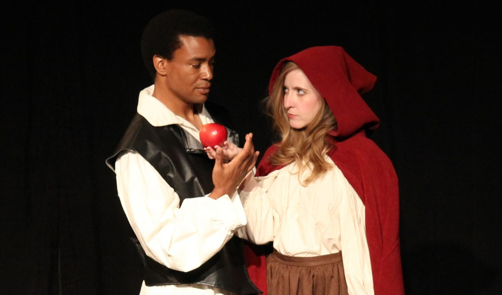 "Calvin Crowner (L) and Cheryl Platz (R) in Seattle Experimental Theater's ""The Wolf and the Witch""."